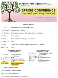 Toastmasters District 63 Spring Conference - Breakout Session 180428
